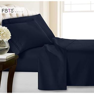 King Bed Sheets(Fitted Flat 4 Piece Sheet Set), 1800 Hotel Luxury Soft Hypoallergenic Microfiber, Adjustable 15 - 18 inch Deep Pocket Mattress Modern Bedding Cover for Women Men, Navy Blue