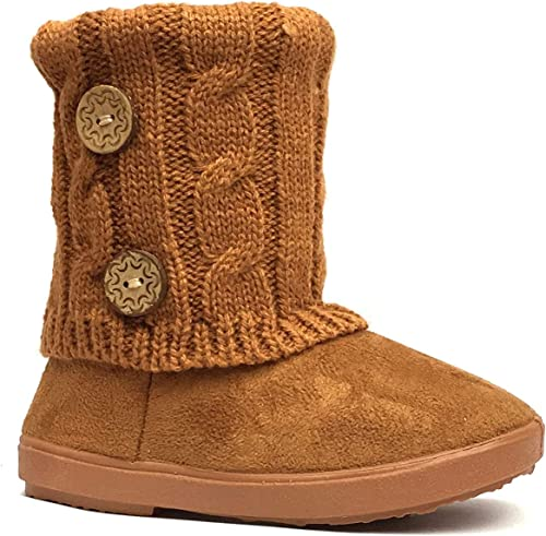 Tan Color Slip On Only Kids Girls Boots Faux Fur Interior Winter Youth Size 3