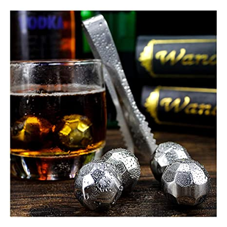 Nifty5 Whiskey Stones Gold Set Of 8 Stainless Steel Diamond Shaped Ice Cubes Kitchen, Dining & Bar