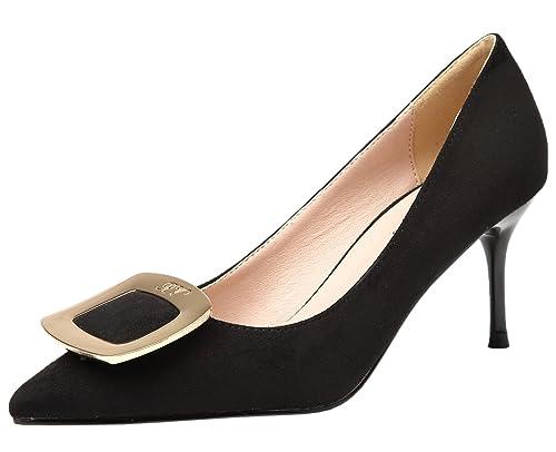 e5206e1361771 Amazon.com   BIGTREE Suede Women High Heels Elegant Pointed Toe ...