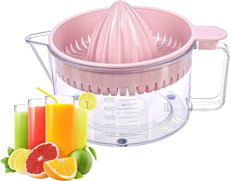 WisyLLC Citrus Orange Lemon Squeezer, Manuel hand juicer with measuring cup and greater plastic 600ml (Pink)