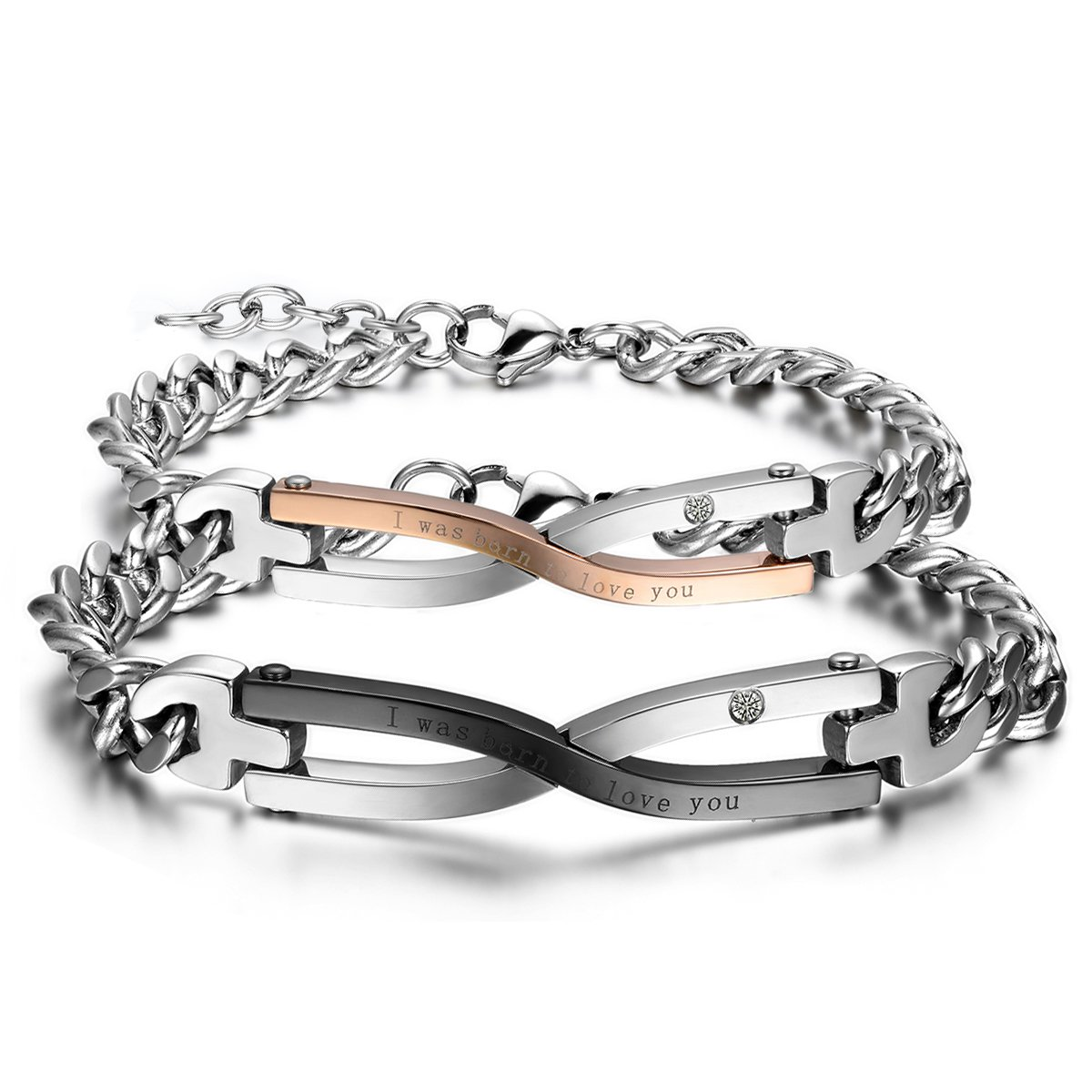 Oidea 2 PCS Couples Stainless Steel CZ Infinity Bracelet, Engraved I Was Born to Love You