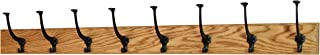 product image for PegandRail Solid Oak Wall Mounted Coat Rack - Large Black Mission Hooks - Made in The USA (Golden Oak, 41 x 3.5-8 Hooks)