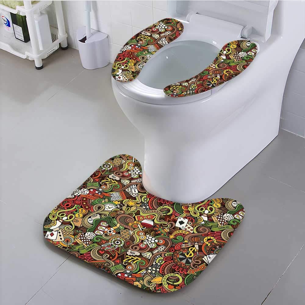 Auraisehome Toilet Cushion Suit Doodles Style Bingo Excitement Checkers King Tambourine Vegas Bathroom Non Slip Comfortable