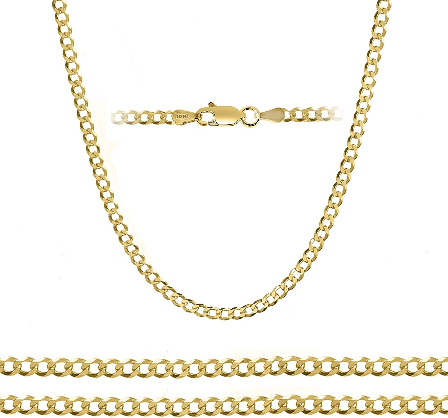 """Orostar 10K Yellow Gold 5mm Curb Chain Necklace 7"""" - 30"""""""