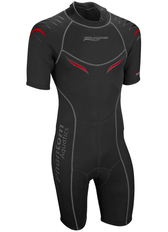 Phantom Aquatics Men's Marine Shorty Wetsuit, Black/Red, XX-Large by Phantom Aquatics