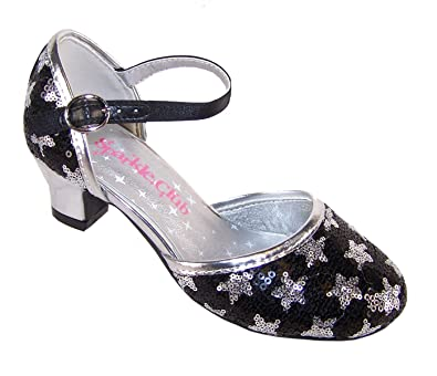 18bbb09876cf Girls black and silver sparkly sequin star low heeled party mary jane shoes
