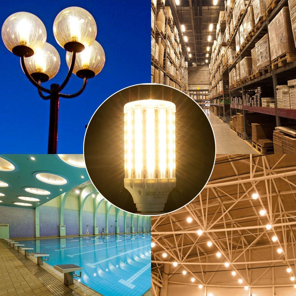 Ampoule led E27 30W 3000K, Wenscha lampe de maïs led puissant idéal pour garage, atelier,séjour, terrasse, applique murale, etc. (blanc chaud)