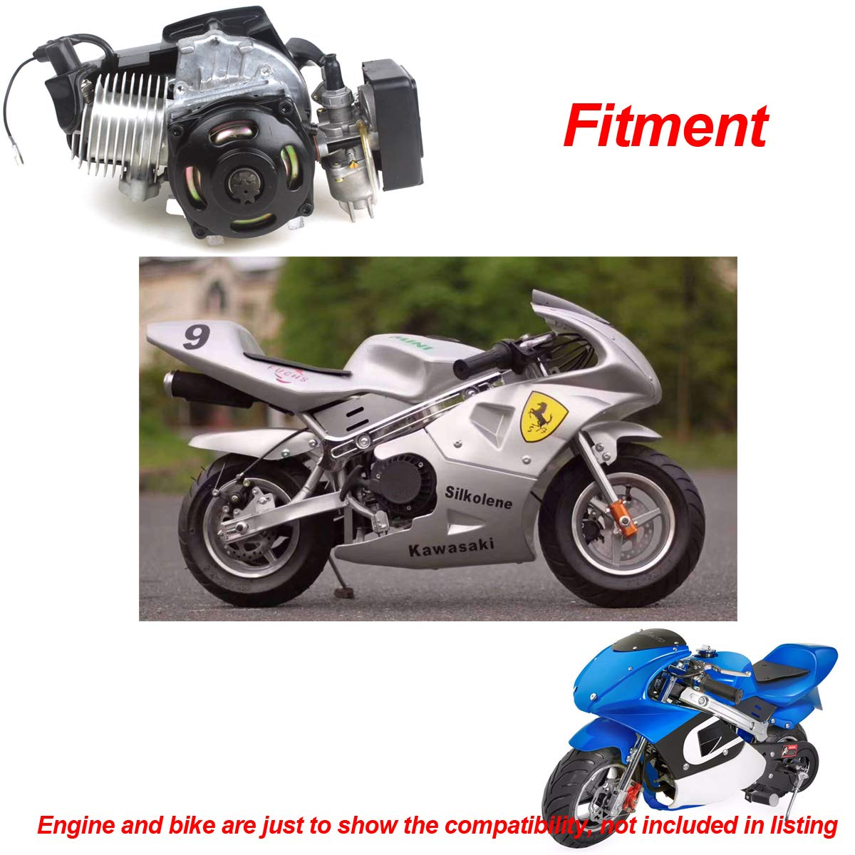 47cc 49cc 2 Stroke Engine Pocket Bike Mini Quad Exhaust Pipe Muffler with Expansion Chamber by Wingsmoto (Image #3)