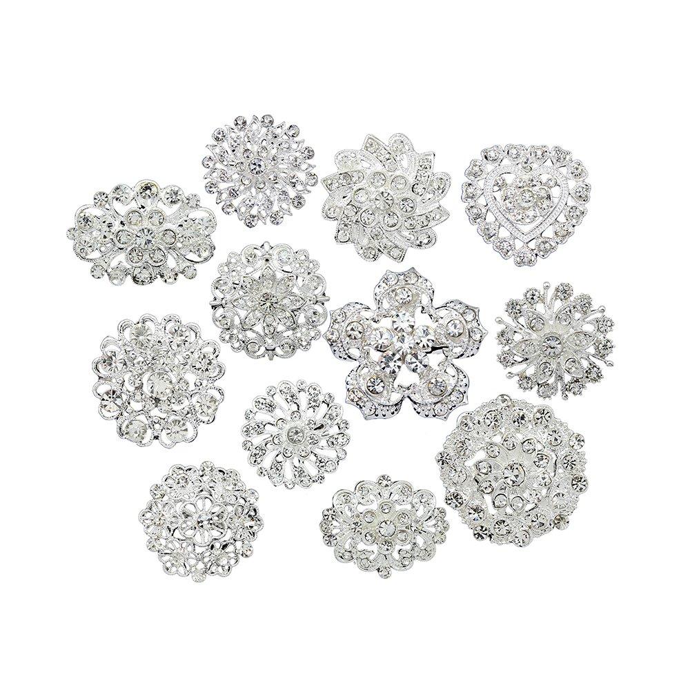 Danbihuabi Lot 12pcs Small Crystal Brooches Silver Plated