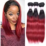 Top Hair Brazilian Ombre Burgundy Hair Extensions Black To Red Weave Brazilian Hair Ombre Weaves Straight Two Tone 3 Bundles 10 10 10 inches Total 150 Gram