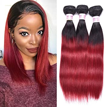 Amazon Com Top Hair Brazilian Ombre Burgundy Hair Extensions Black