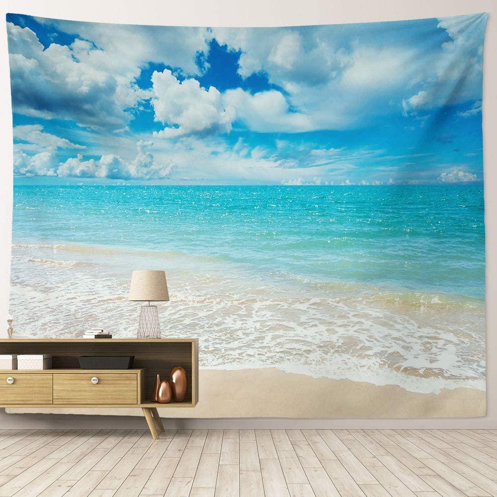 """HIYOO Home Nature Art Wall Hanging Fabric Tapestry, Tropical Ocean Sea Coast Beach Waves Theme, Decor for Dorm Room, Bedroom,Living Room, Party Background - Pale Blue Water 90"""" W x 71"""" L"""