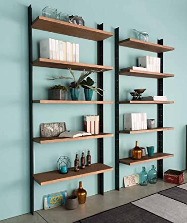 Libreria moderna con 5 ripiani in legno massello e montanti in ...