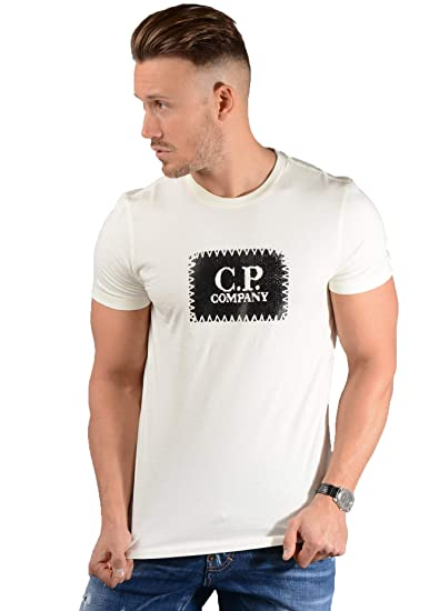 8d1b29111e4 CP Company Mens 05CM55077A T-Shirt in Off White: Amazon.co.uk: Clothing