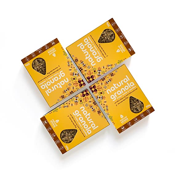 Granola -Natural Athlete- Desayuno con frutos secos y semillas - 100% natural, sin azúcar refinado. Pack 4x325gr (Arándano, amaranto y cardamomo): ...
