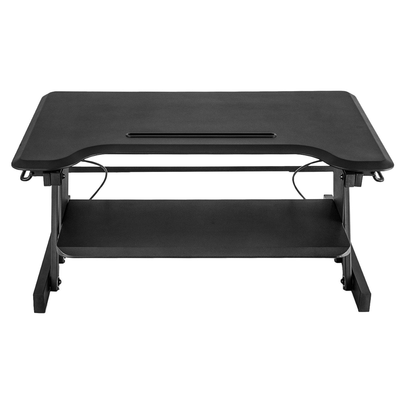 Mophorn 32'' Height Adjustable Standing Desk Converter with Keyboard Tray and Tablet Holder Design Sit to Stand Desk Riser Desktop Tabletop Computer Workstation (with Tablet holder design)