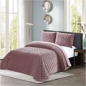 All American Collection New 3 Piece Thick Plush Velvet Coverlet Quilt Set (Queen Size, Old Rose)