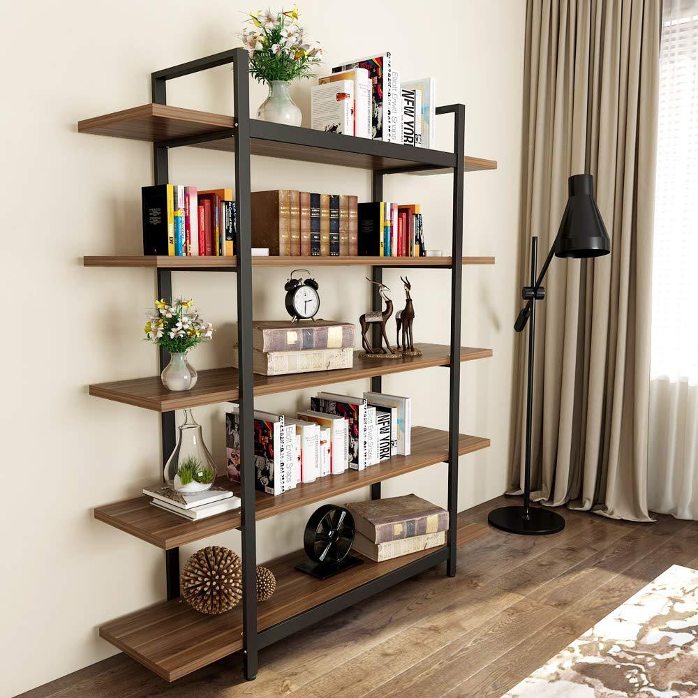 Tribesigns 5-Tier Rustic Bookshelf, Vintage Industrial Style Bookcase 70 '' H x 9'' W x 47''L, Dark Walnut