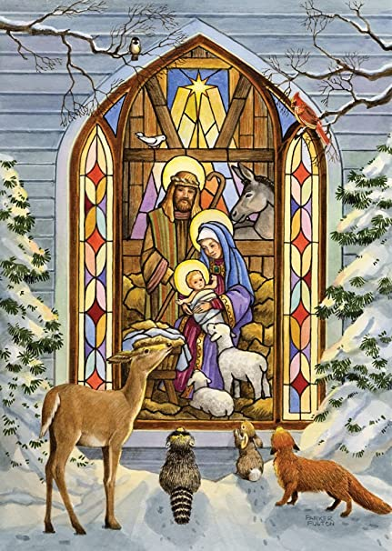 stained glass nativity christmas cards set of 15 - Nativity Christmas Cards