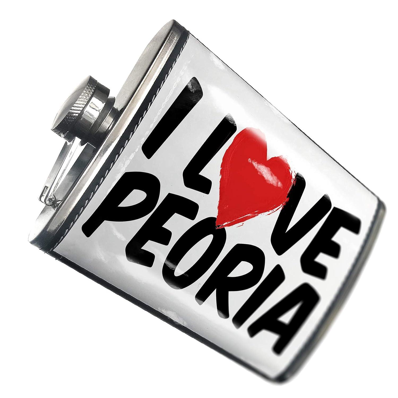 8オンスフラスコステッチI Love Peoriaステンレススチール – Neonblond   B00QQVGMWW