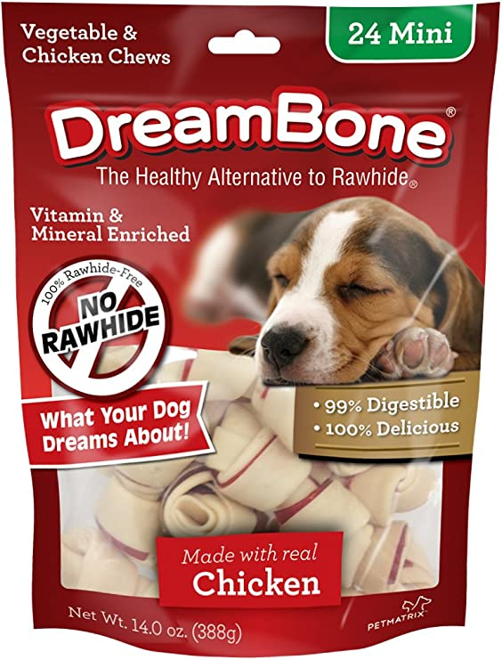 DreamBone Mini Bones, Dog Chews with Real Chicken, Rawhide-Free Chews for Dogs