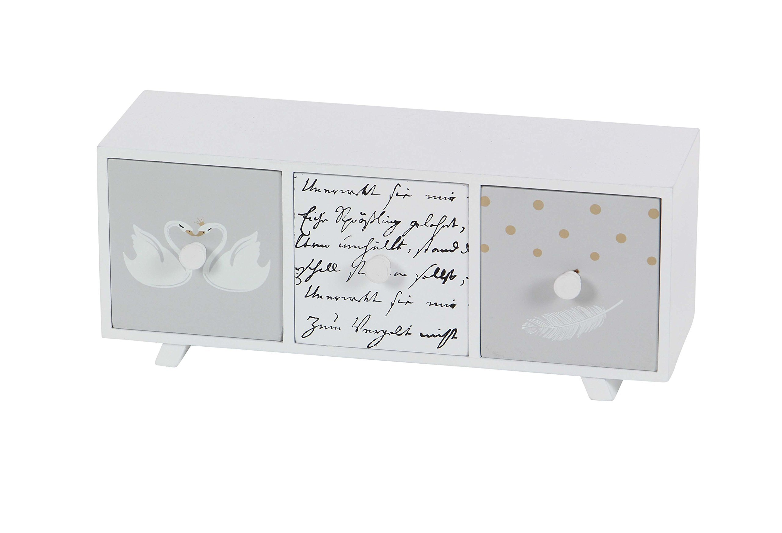 Deco 79 98769 White Three-Drawer Wooden Jewelry Chest, 5'' x 12'', White/Gray/Black