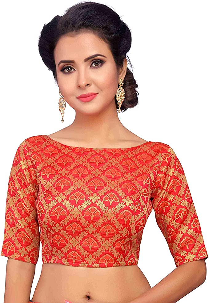 Designer PINK Readymade Benaras Brocade Stitched Wedding Party Wear Saree BOAT NECK Blouse Crop Sari Top For Women MF1