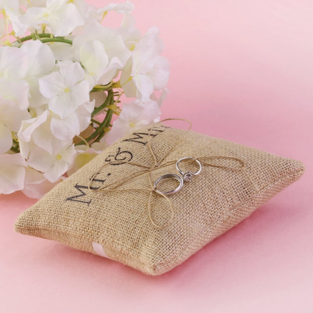 Amazon.com: Mintbon 5.9\'\'x5.9\' Mr Mrs Wedding Ring Pillow Burlap ...