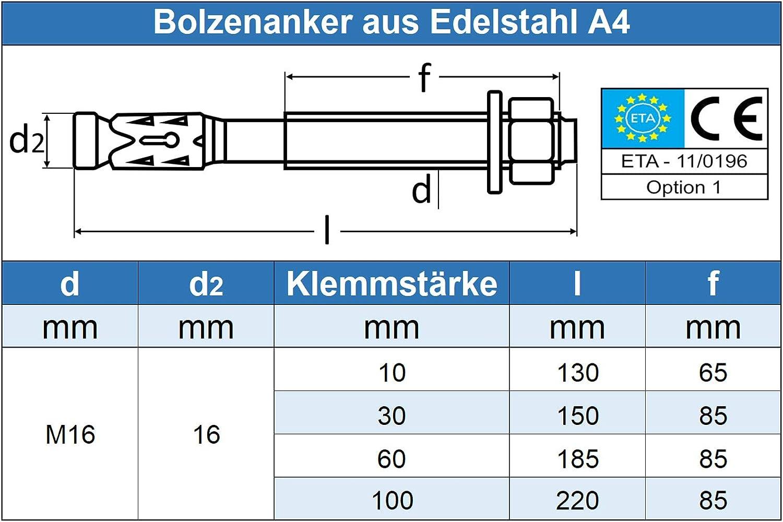 M16 x 130//10 mm Bolzenanker Eisenwaren2000 rostfrei Schwerlastd/übel 1 St/ück Edelstahl A4 V4A - ETA-Zulassung