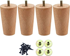 4 Inch Wood Furniture Legs,Round Solid Wooden Sofa Legs Set of 4, Couch Legs Replacement for Bed,Cabinet,Armchair,Chair,Coffee Table,Mid Century Modern DIY Furniture Feet