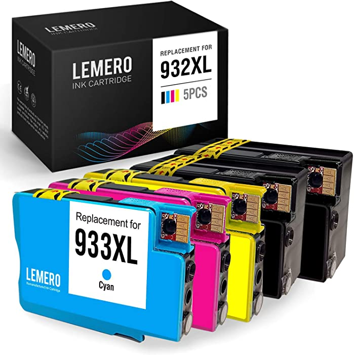 LEMERO Compatible Ink Cartridge Replacement for HP 932 933 XL 932XL 933XL for OfficeJet 7612 7610 7110 6700 6600 6100 (2 Black, 1 Cyan, 1 Magenta, 1 Yellow, 5 Pack)