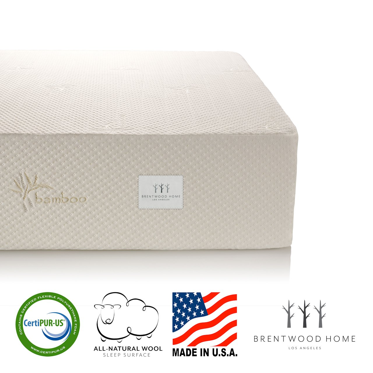 Brentwood Home Cypress Mattress, Bamboo Derived Rayon Cover, Gel Memory Foam, Made in USA, 13-Inch, Queen by Brentwood Home