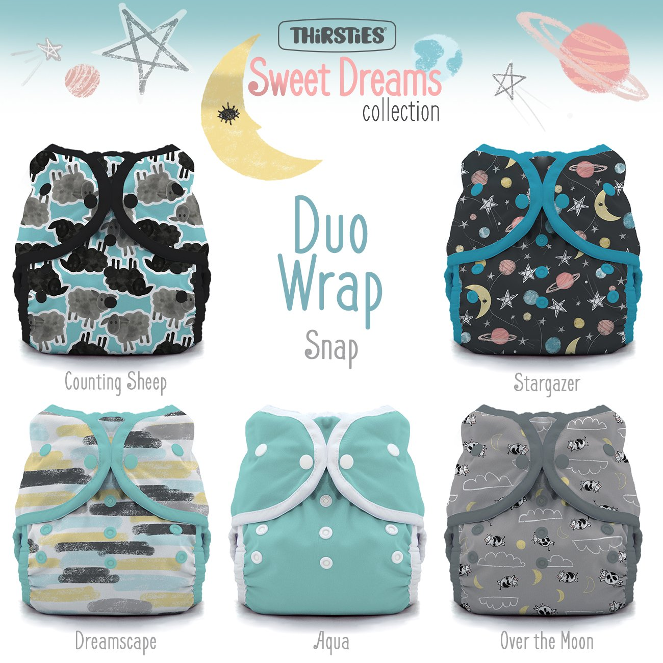 Thirsties TDWPSSD2 Package Snap Duo Wrap Sweet Dreams Collection Size Two (18-40-pound) Diapers
