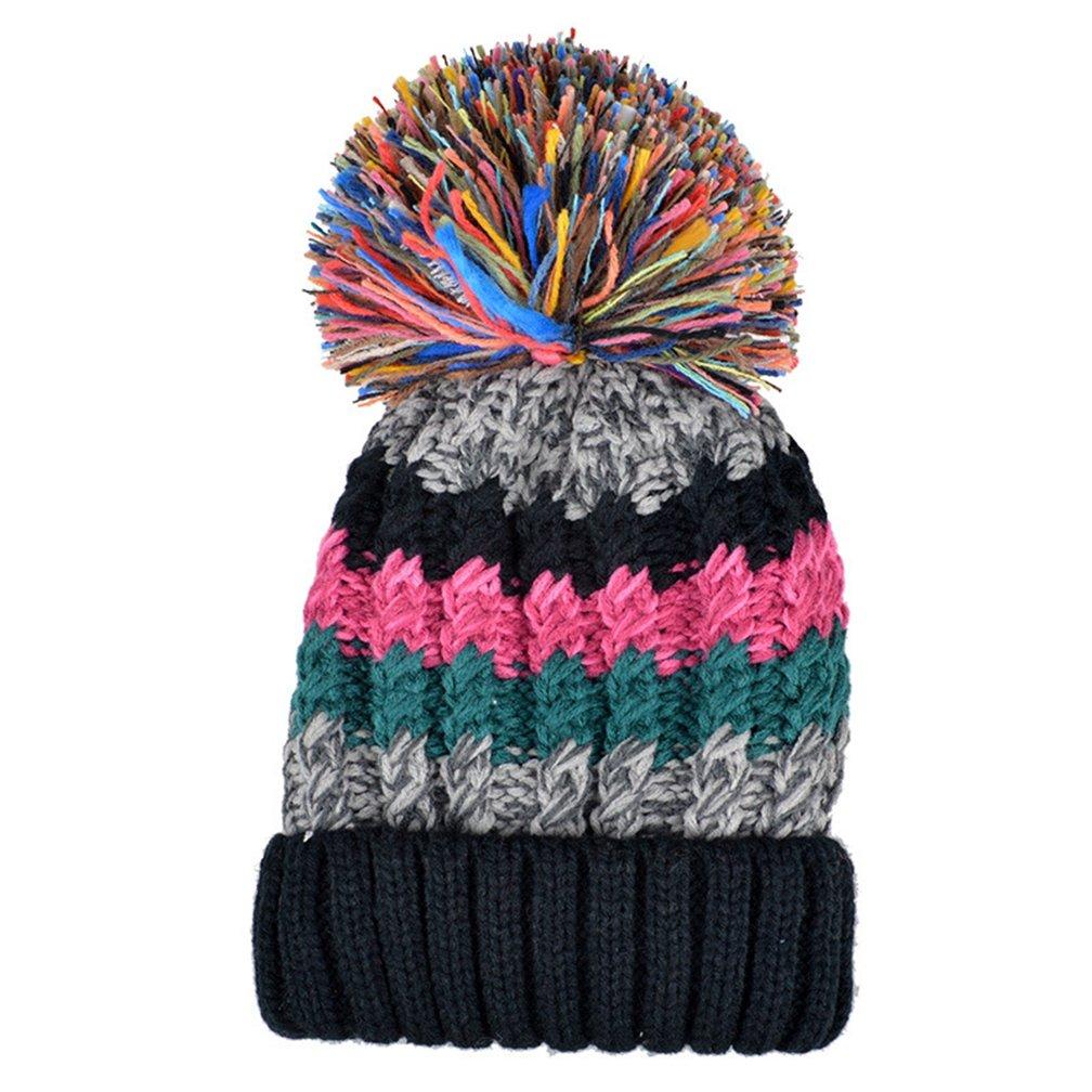 d308c175755 Color City Bohemian Stripe Crochet Knit Slouchy Pom Pom Handmade Beanie  Winter Ski Warm Hat (Black) at Amazon Women s Clothing store