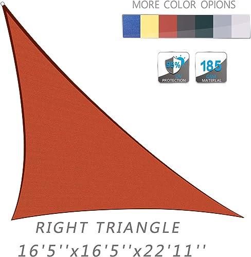 LOVE STORY 16 5 x 16 5 x 22 11 Right Triangle Terra Red Sun Shade Sail Canopy UV Block Awning for Outdoor Patio Garden Backyard