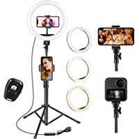 UPhitnis Selfie Ring Light with Tripod Stand & Cell Phone Holder for Live Stream/Makeup/YouTube Video/Photography