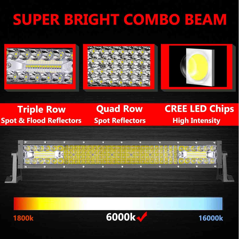 QUAD ROW 20INCH 2016W CREE LED LIGHT BAR SPOT FLOOD WORK LAMP OFFROAD UTE ATV 23