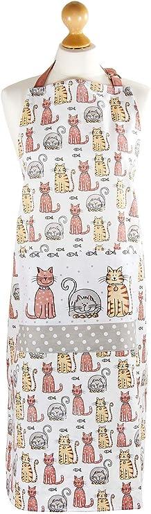 SPOTTED DOG GIFT COMPANY Delantal de Cocina Blanco Originales con diseño de Lindo Gatos, algodón Ajustables con Bolsillo, Regalos de Gato: Amazon.es: Hogar