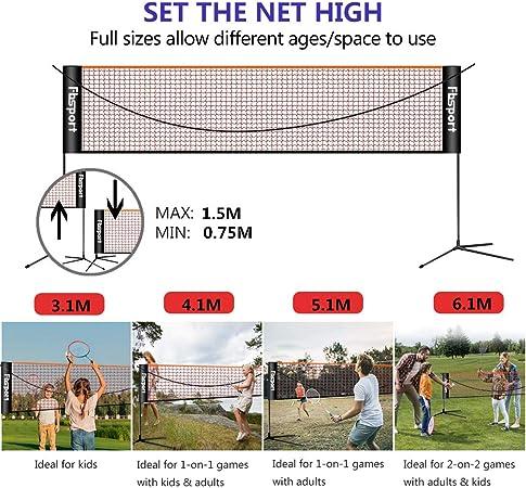 Altura Ajustable Red para Voleibol para el Interior o al Aire Libre F/ácil Instalaci/ón Pickleball con Soporte y Bolsa FBSPORT Red de Tenis B/ádminton Port/átil desplegable Ajustable