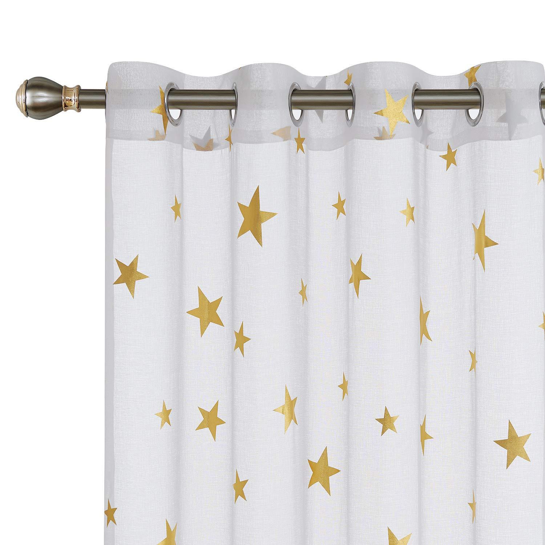 Amazoncom Deconovo Grommet White Sheer Curtains 84 Inch Long Foil