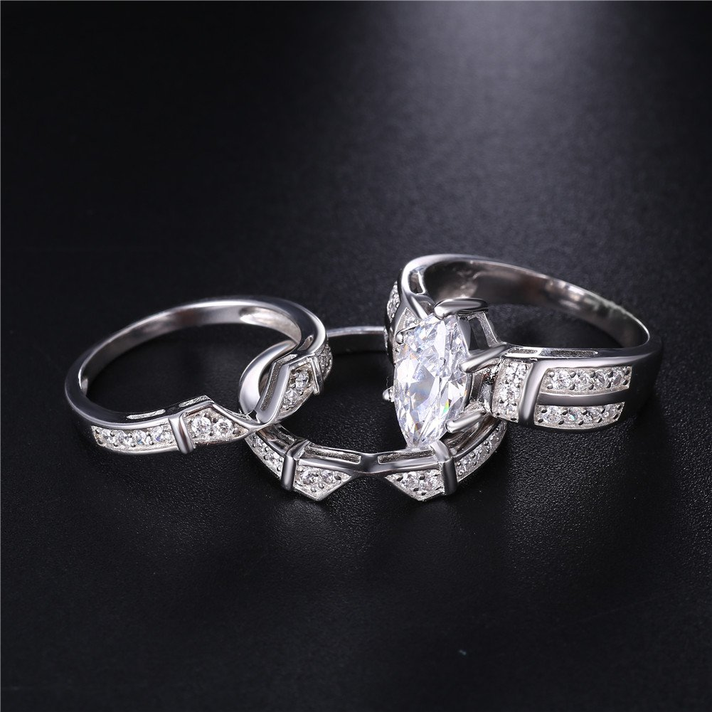 MABELLA Trio Sterling Silver Cubic Zirconia CZ Marquise Wedding Ring Set for Women by MABELLA (Image #6)