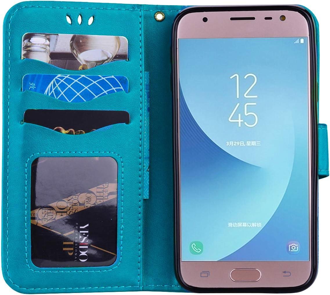 Liebe Herz Blau Hpory Kompatibel mit Galaxy J3 2017 H/ülle Samsung Galaxy J3 2017 Handyh/ülle Glitzer Strass Muster PU Leder mit Handschlaufe Geldb/örse Case Flip Cover Schutzh/ülle Handytasche
