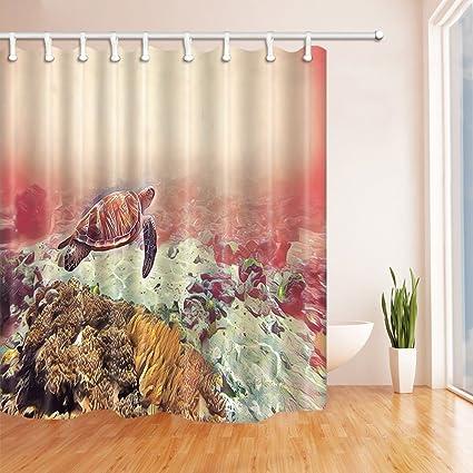 Marine Seawater Animal Shower Curtains Sea Turtle In Coral Reef Polyester Fabric Waterproof Bathroom Bath Curtain
