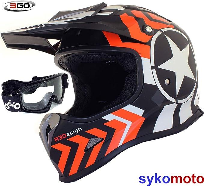 Orange Helm 3go X15 Kinder Streifen Stern Motorrad Motocross Enduro Mx Quad Trail Fahrrad Mit Schwarzer Brille Xs Auto