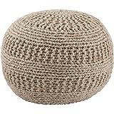 Ashley Furniture Signature Design - Benedict Pouf - Comfortable Ottoman & Footrest - Handmade Rib Knit - Natural