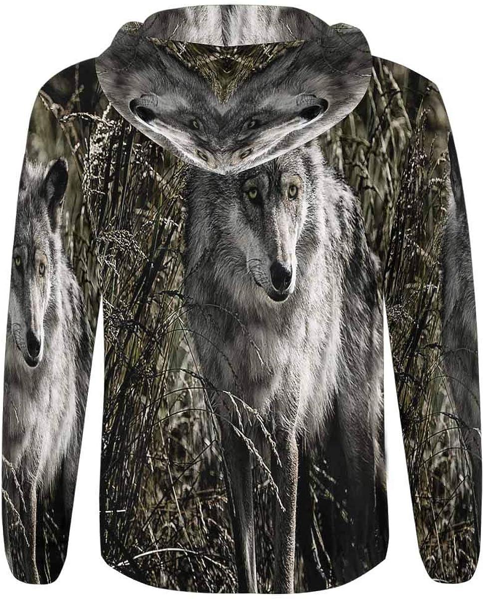 INTERESTPRINT Mens Full Zip Hooded Sweatshirts Wolf on The Field