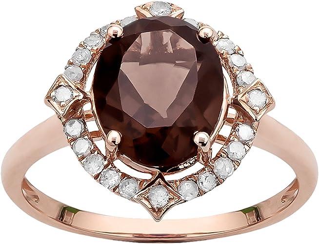 10k Rose Gold Oval Smoky Quartz and Diamond Halo Ring