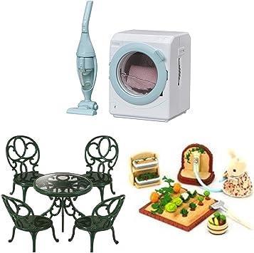 3 conjuntos de Sylvanian Families – Mesa y sillas de jardín, jardín y conjuntos de lavadora: Amazon.es: Juguetes y juegos