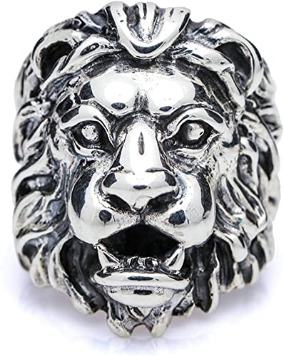 Bishilin Sterling Silver Mens Ring Lion Head Partner Anniversary Rings Silver Black Size 12